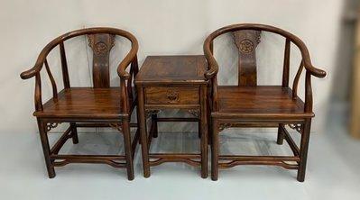 樂居二手傢俱 便宜2手家具拍賣 ZM821Fj*新雞翅木公婆椅(一桌2椅)* 仿古組椅 家具  台北台中桃園新竹