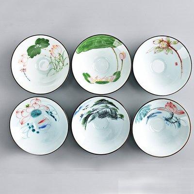 新款手繪陶瓷品茗杯茶杯青瓷功夫茶具茶壺鬥笠杯單杯普洱茶杯 六個一組