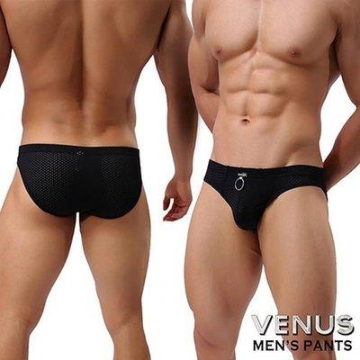 潮流VENUS 透氣網孔 男士內褲性感三角褲 黑
