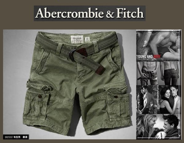 有型男~ A&F Abercrombie&Fitch 2014 春夏 工作短褲 Cargo Shorts olive軍綠