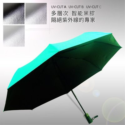 【黑の科技】Blocktech_45吋大黑膠-自動晴雨傘 (嫩綠) /雨傘自動傘防風傘抗UV傘陽傘大傘黑膠傘(免運)