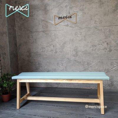 美希工坊 VICTOR bench 勝利凳/實木長凳/可訂製/可訂色原木椅架貓抓蜜瓜皮革/坐感佳/#梣木椅架