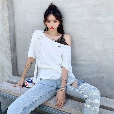 ❤Princess x Shop❤性感又顯瘦睫毛蕾絲露肩T恤DL9071522正韓國連線吊帶褲蕾絲一字領