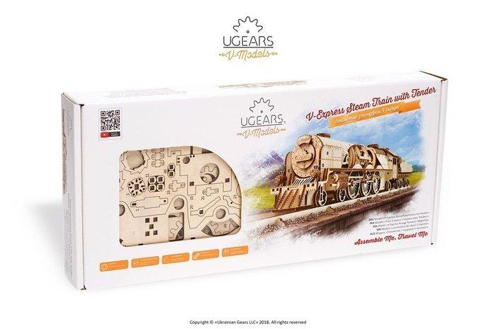 Ugears 虧雞Train V-Express Steam Train with Tender 工業革命火車頭 來自歐