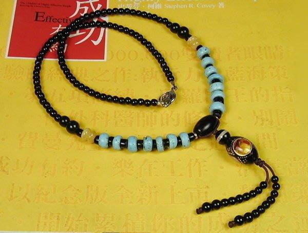 藏珠物流中心**黑珊瑚鑲琥珀/綠松/硨磲 **老藍琉璃秀氣項鍊**☆F044☆