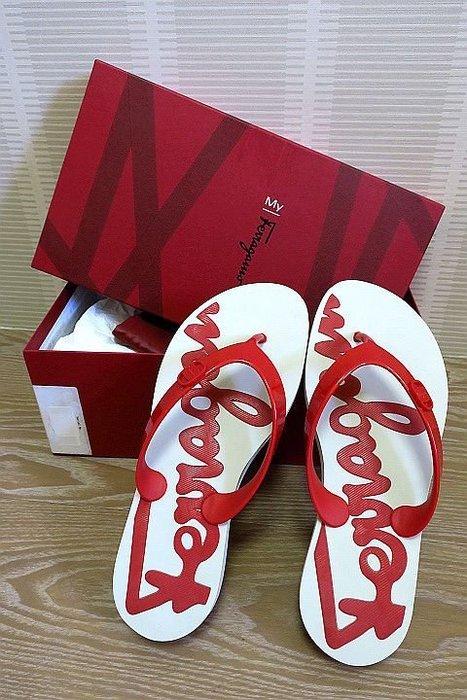 *Beauty*Salvatore Ferragamo紅色夾腳拖鞋 海灘鞋 7號 COCO17 加圖