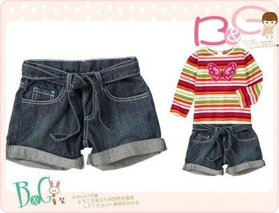 【B& G童裝】正品美國進口Crazy8 口袋刺繡圖騰腰綁帶牛仔短褲6,7yrs