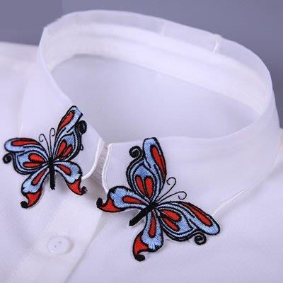 假領子 襯衫 領片-米白雪紡蝴蝶刺繡女裝配件73va33[獨家進口][米蘭精品]