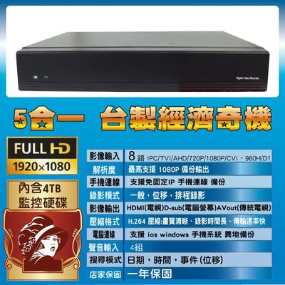 五合一 含硬碟4TB 1080P 8路監控主機 支援手機監控 異地備份 相容 720P 960H舊規格攝影機 一年保固