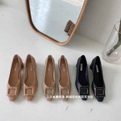 Ruyan Vuicy韓國女鞋「CHIC」STUDIO|秒 「Lady First」2021春季新款方形扣飾小單鞋