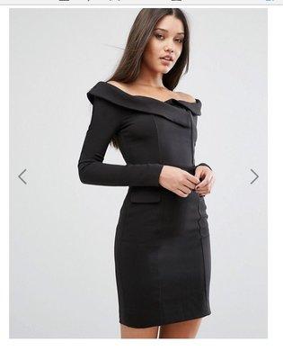 Lavish Alice Off Shoulder Tailored Mini Dress露肩洋裝uk12