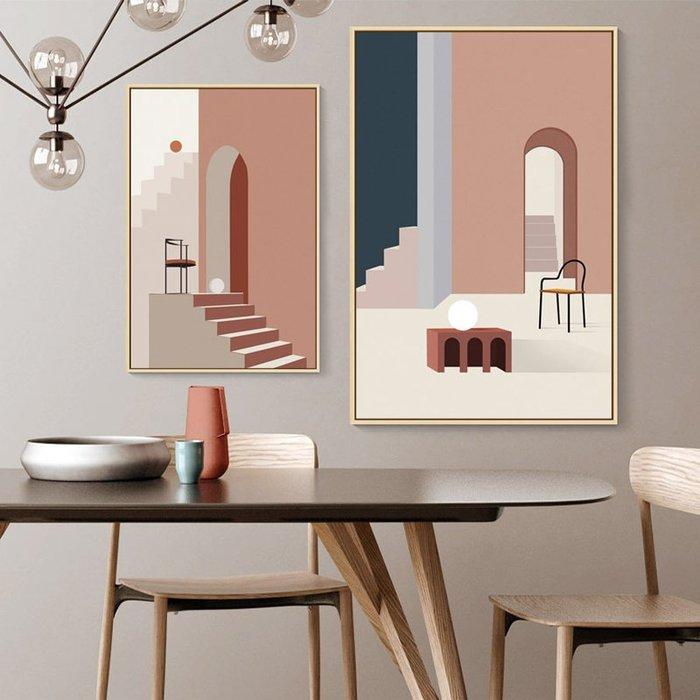 C - R - A - Z - Y - T - O - W - N 無限空間建築壁掛畫拱形門現代客廳幾何抽象裝飾畫客廳走道暖色掛畫電表箱遮掩裝飾畫實品屋裝飾壁畫