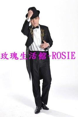 【玫瑰生活館】~~燕尾服~新郎服,主持服,魔術表演服,舞台服,男禮服,男西裝 ,(不含帽)