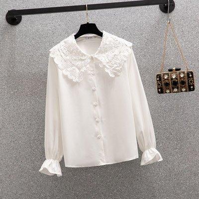 朵拉韓國賣場2020秋季新款大碼女裝胖mm洋氣減齡寬松顯瘦雪紡上衣t恤減齡襯衫