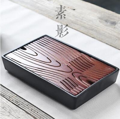 【優上】長方形陶瓷茶盤日式幹泡盤功夫茶海泡茶儲水盤碳化竹製