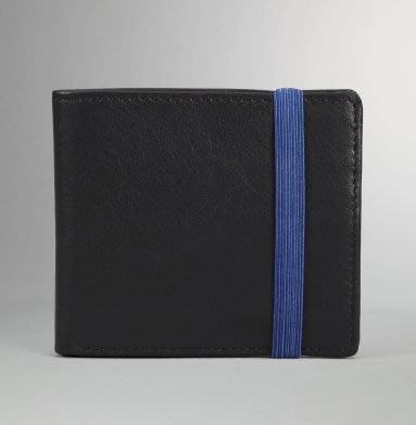 破盤清倉大降價!全新美國 Kenneth Cole 黑色皮革藍色收縮帶皮夾,父親節情人節生日最佳贈禮!無底價!免運費!