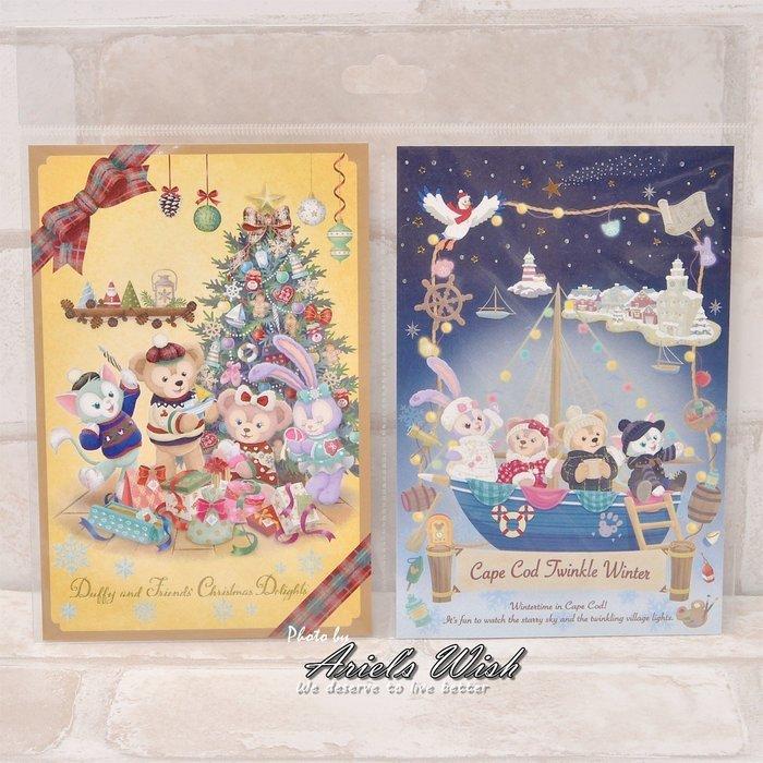 Ariel Wish日本東京迪士尼聖誕節達菲熊Duffy雪莉玫傑拉東尼Stella史黛拉兔兔冬季明信片情書卡片兩入組現貨