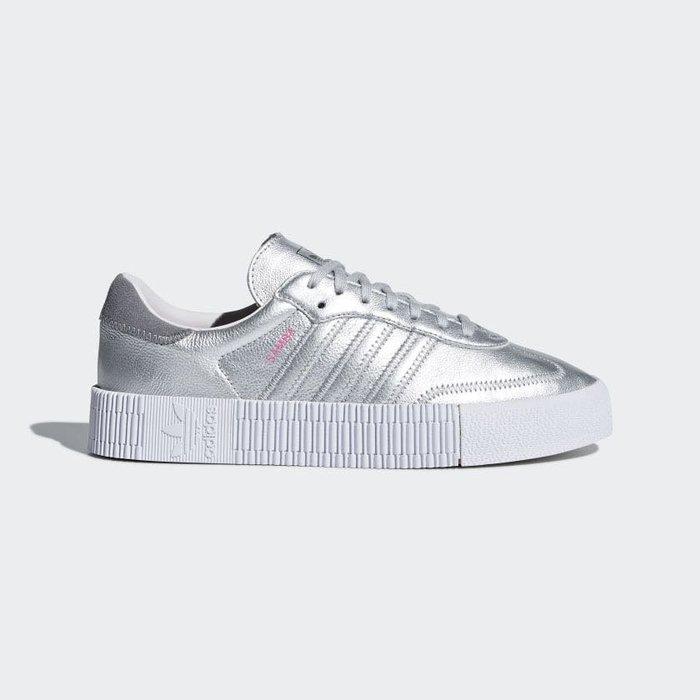【Cheers】 Adidas ORIGINALS  Sambarose 女鞋 增高 白底 銀色 銀白 D96760