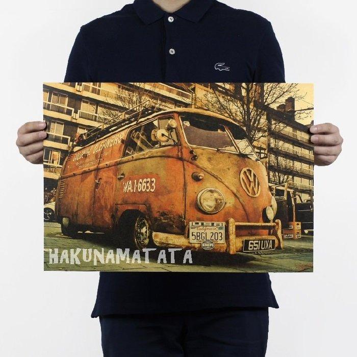 【貼貼屋】福斯 胖卡 大眾老爺車 懷舊復古 牛皮紙海報 店面裝飾 交換禮物 532
