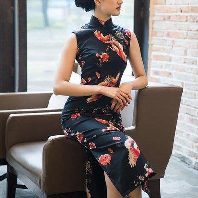 【免運】春夏印花改良無袖方領中長款時尚日常旗袍 女連身裙愛云