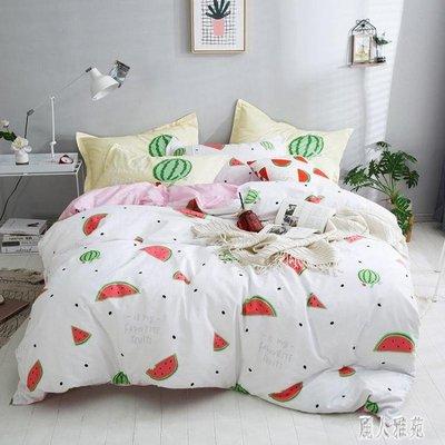 床包組‧清新純棉床品2019風學生全棉印花床單四件套床笠床包4件組4090