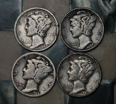 1935/42/43/45美國莫利斯ONE DIME銀幣*保真*