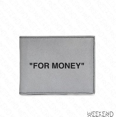 【WEEKEND】 OFF WHITE Quote For Money 反光 皮夾 短夾 卡夾 銀色 20春夏