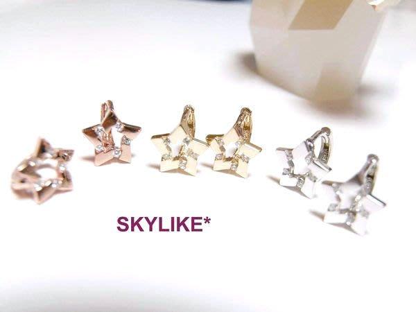 *SKYLIKE*單支購-韓國進口585/14K白K金、玫瑰金、黃K金亮面~是流星~鋯石星型耳骨耳環,TO-87614k