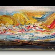 【 金王記拍寶網 】U985  朱德群 款 抽象 手繪原作 厚麻布油畫一張 罕見 稀少 藝術無價~