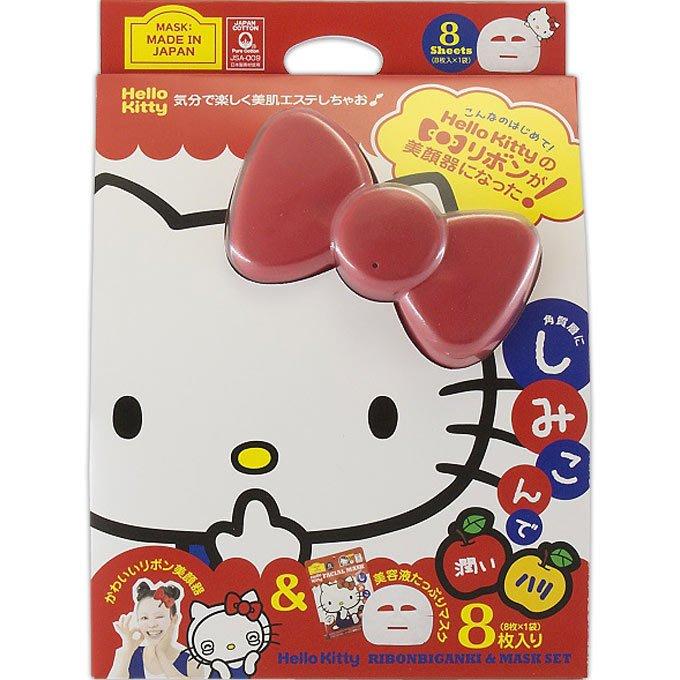 日本製 Hello Kitty  蝴蝶結美顏器 蘋果香面膜8枚入 小日尼三 現貨免運費 不必等