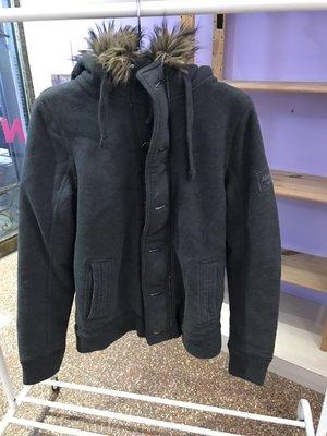 A&F 男 麋鹿 羔羊毛連帽棉質厚外套 鐵灰色 尺寸M  全新 現貨