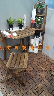~水芝丹生活館~IKEA ASKHOLMEN 灰棕色實心洋槐木戶外摺疊桌, 灰棕色半圓形陽台上善用有限的戶外空間