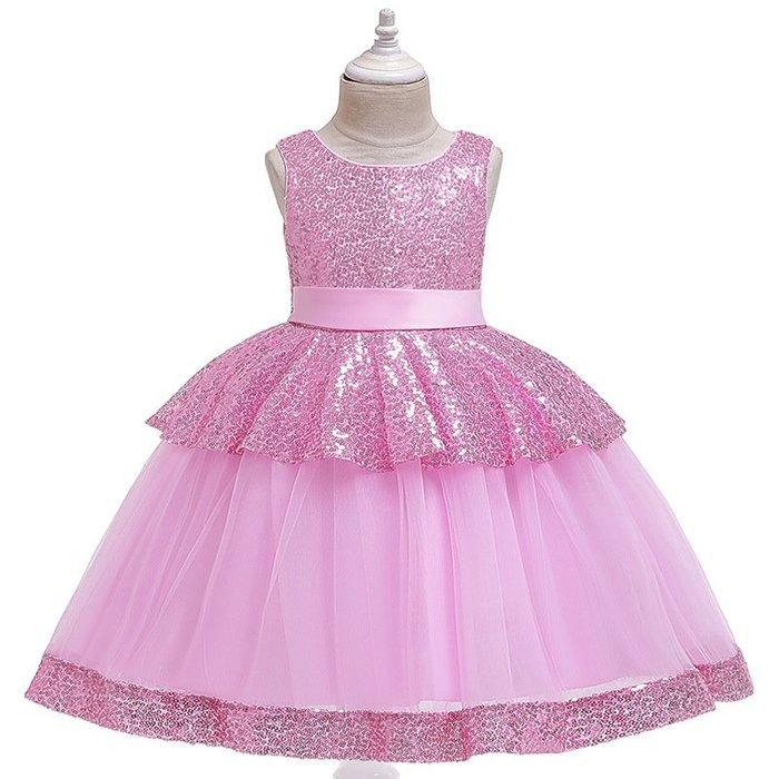 •*~ 辣媽咪衣飾小舖 ~*•❤童裝系列❤K970489韓版大童夏款甜美清新時尚蓬蓬蕾絲亮片可愛公主禮服公主洋裝