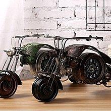 複古大型哈雷摩托車模型金屬座鐘鐵藝車模家居創意餐廳酒吧裝飾品(兩款可選)*Vesta 維斯塔*