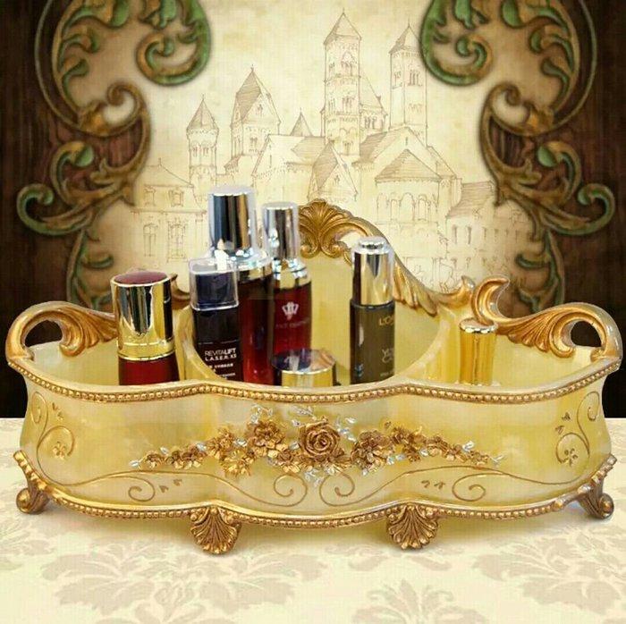 粉紅玫瑰精品屋~歐式創意收納盒 高檔玫瑰浮雕化妝品盒 桌面搖控器整理盒~
