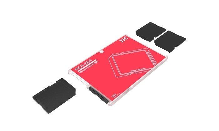 又敗家JJC超薄名片型四張SD記憶卡收納盒SD記憶卡儲存盒SD記憶卡儲藏盒SD卡盒SD記憶卡收藏盒SD記憶卡保護盒儲放盒記憶卡放置盒MCH-SD4張SD卡收納盒