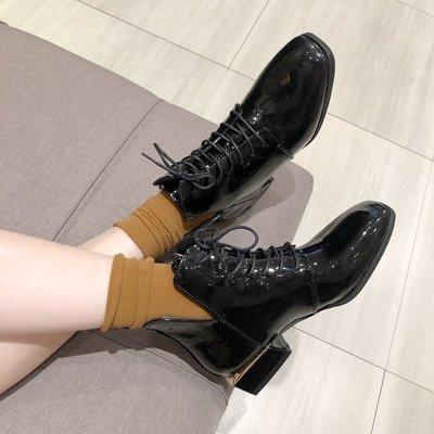 保暖女鞋 機車靴 馬丁靴 時尚百搭短靴女英倫風靴子女春秋粗跟馬丁靴女系帶方頭單靴女