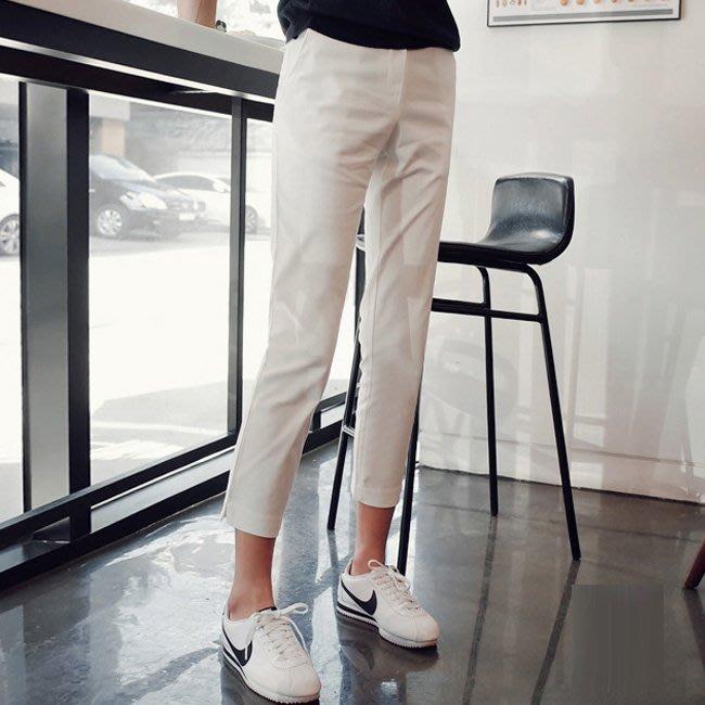 九分褲 好質感親膚乳白色彈力側開叉高腰西裝褲小腳褲鉛筆褲 艾爾莎【TAE8586】