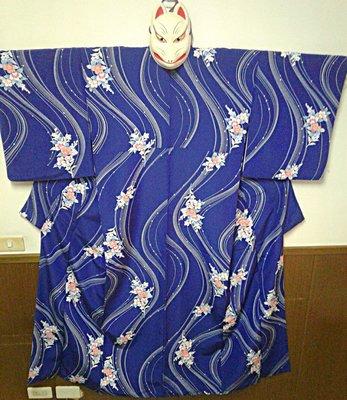 [兔尾屋和服專賣] 藍色系花卉圖案