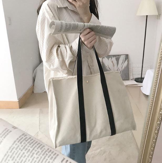 【現貨不用等 】韓版 ins  學院風 大容量 毛邊 破損感 帆布包 休閒包 帆布包 單肩包 休閒 手提包 可A4