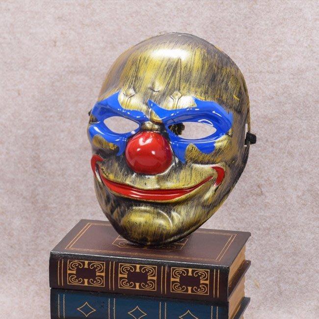 土豪金 圓臉小丑面具 仿古面具 蝙蝠俠小丑 日本藝妓 全臉面具 面罩 面紗 【塔克】