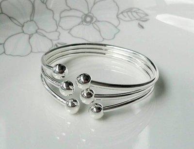 嗨,寶貝銀飾珠寶* 925純銀☆999純銀 時尚 造型 個性 錯開銀球 實心 開口純銀手環 手鐲