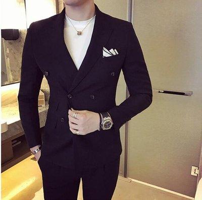 FINDSENSE品牌 韓國男 雙排扣西裝外套穿搭 兩件式套裝 成套西裝 西裝修身 外套+褲子