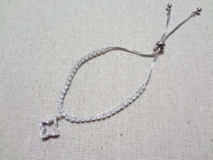 【Love Trina】8110-0219 亮鑽幸運草可調式伸縮手鍊。可調式手鍊-(銀色)