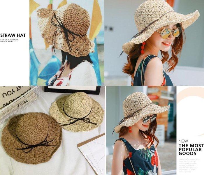麂皮蝴蝶結 手工編織草帽 鏤空 遮陽帽 可折疊 防曬 沙灘帽 草編帽 大帽簷