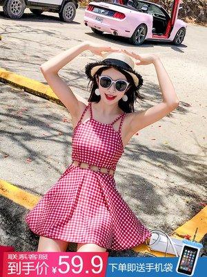 韓國Baby~游泳衣女連體裙式保守遮肚顯瘦2019新款性感小胸韓國泡溫泉小香風