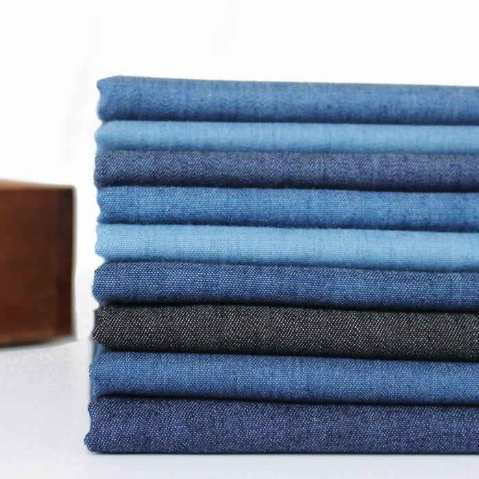 水洗牛仔布料藍黑色厚薄款微彈力純色襯衣連衣裙褲子夏季面料手工