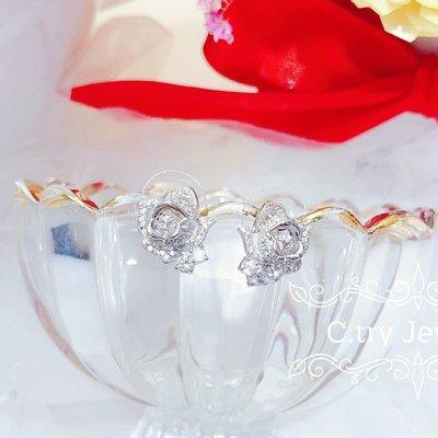 💎1262、古典玫瑰園小禮服微鑲玫瑰溫婉耳環💎正韓飾品 耳環 珠寶 925純銀針 EE079
