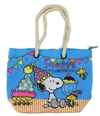 【卡漫迷】 史奴比 派對 肩背包 藍 ㊣版 拉鍊 肩背袋 史努比 Snoopy 補習袋 外出包 麻繩 水餃包 糊塗塔克