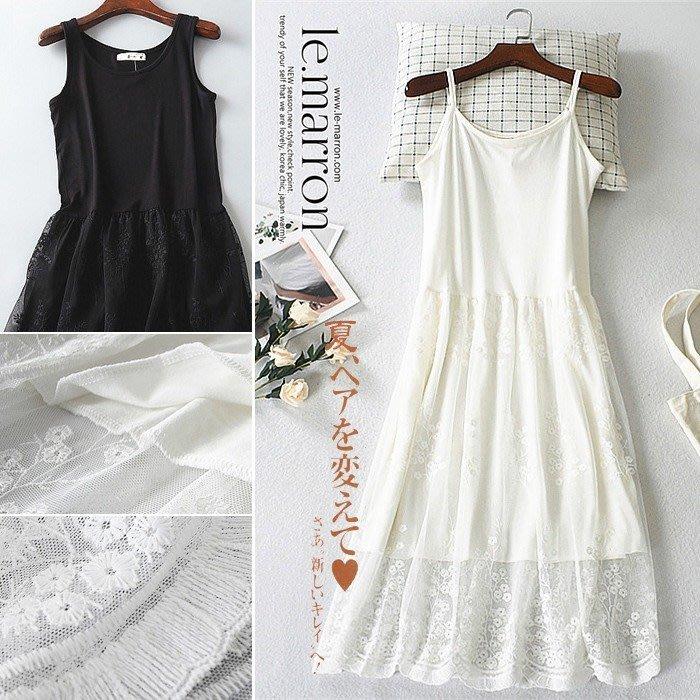 Le.Marron╭*゚夏日香氣 花樹刺繡蕾絲襯裙 吊帶裙加長內搭長裙#LL045預購